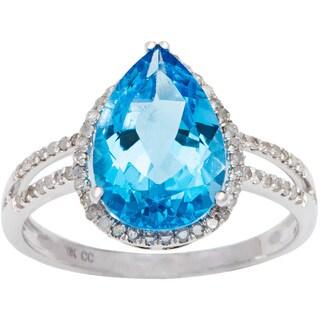 Viducci 10k Gold Blue Topaz and 1/3ct TDW Diamond Halo Ring (G-H, I1-I2)