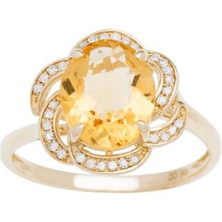 Viducci 10k Gold Citrine and 1/6ct TDW Diamond Ring (G-H, I1-I2)