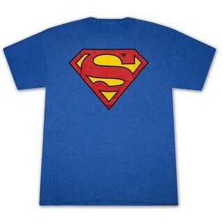 Men's Blue Superman Classic Shield Logo Graphic T-Shirt