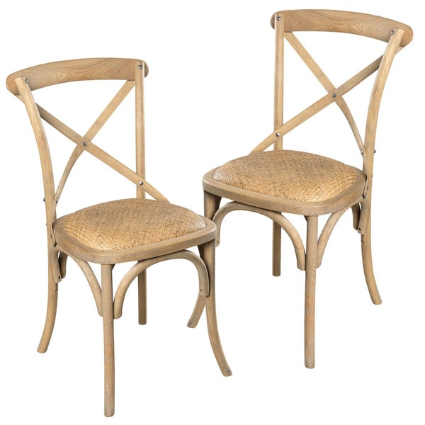 Bentwood and rattan bistro chair set of 2 17467147 overstock com