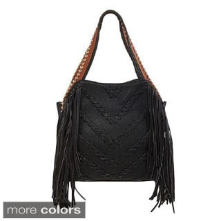 Big Buddha Graya Whipstich Embellished Fringe Hobo Bag