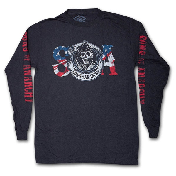 Men's Sons Of Anarchy Reaper USA Flag Black Long Sleeve T-Shirt