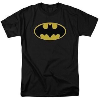 Batman DC Comics Classic Yellow Bat Logo Black Graphic T Shirt