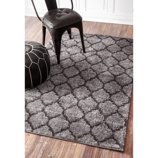 nuLOOM Soft and Plush Trellis Grey Shag Rug (8'6 x 11'6)