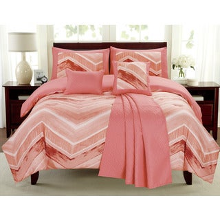 Mercer Coral Chevron 6-piece Comforter Set