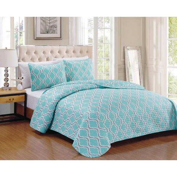 Turner Aqua 3-piece Quilt Set