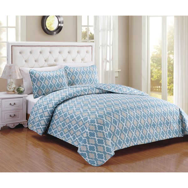 Cardston Slate Blue 3-piece Quilt Set