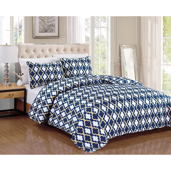 Cardston Navy 3-piece Quilt Set