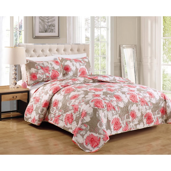 Cotton Foxfill Coral 3-piece Quilt Set
