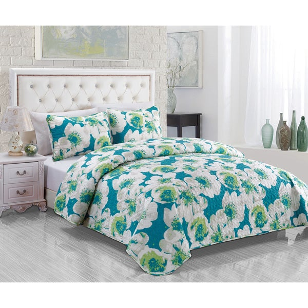 Cotton Foxfill Teal 3-piece Quilt Set