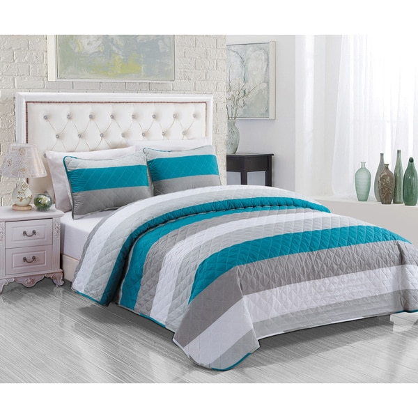 Vermiliton Teal 3-piece Quilt Set