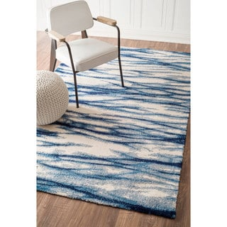 nuLOOM Modern Abstract Fancy Blue Rug (7'6 x 9'6)