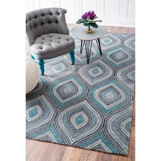 nuLOOM Modern Geometric Trellis Blue/ Grey Rug (7'6 x 9'6)