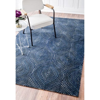 nuLOOM Modern Geometric Trellis Blue/ Grey Rug (5' x 8')