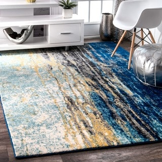 nuLOOM Modern Abstract Vintage Blue Rug (4' x 6')