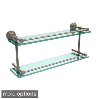 Allied Brass Dottingham 22-inch Double Glass Shelf with Gallery Rail