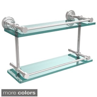 Allied Brass Dottingham 16-inch Double Glass Shelf with Gallery Rail