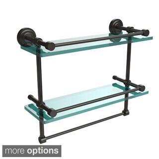 Dottingham 16-inch Gallery Double Glass Shelf with Towel Bar