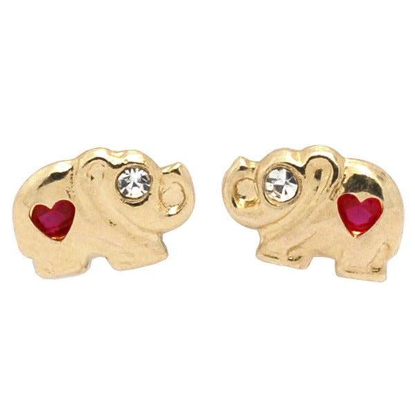 De Buman 14K Yellow Gold Heart Shape Red Crystal & White Cubic Zirconia Elephant Screw Back Earrings