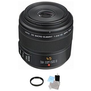 Panasonic 45mm f/2.8 ASPH. MEGA O.I.S. Lens + UV Filter & Cleaning Bundle