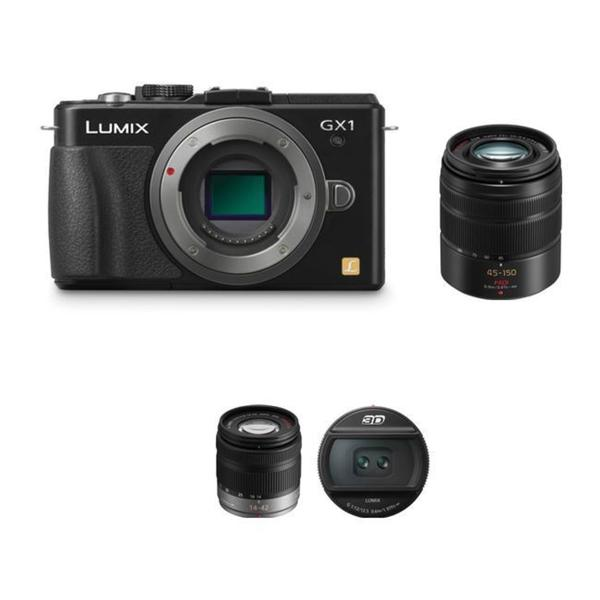 Panasonic Lumix DMC-GX1 Camera w/ 14-42mm, 45-150 mm & 12.5mm 3D G Lenses- Black Bundle