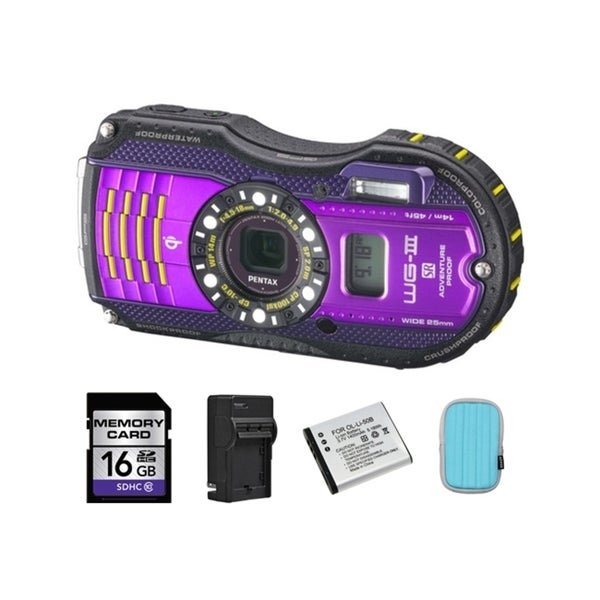 Pentax WG-3 Digital Camera with GPS Kit - Purple + 2 Batteries, 16GB Bundle