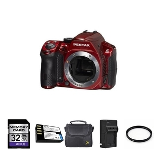Pentax K-30 Digital Camera (Body, Red) + 2 Batteries, 16GB Bundle
