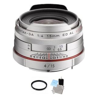 Pentax HD DA 15mm f/4 ED AL Limited Lens - Silver + UV Filter & Cleaning Bundle
