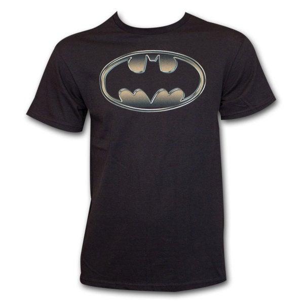 Men's Cotton Batman Classic Golden Embossed Logo Shirt