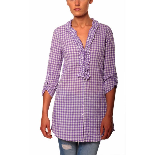 Women's Seersucker Gingham 3/4 Sleeve Tunic