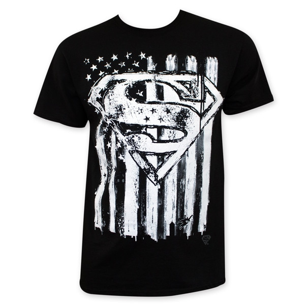 Men's Black American Flag Superman Chalk Tee Shirt