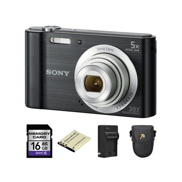 Sony Cyber-shot DSC-W800 Digital Camera - Black + 2 Batteries, 16GB Bundle