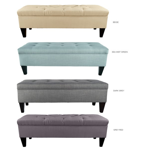 Brooke button tufted upholstered long storage bench ottoman overstock shopping great deals Long upholstered bench