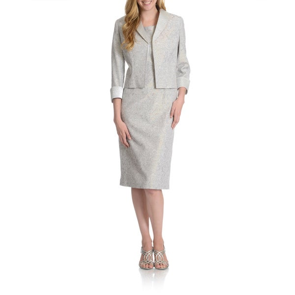 Giovanna Signature Women's Iridescent Stretch Brocade 2-piece Jacket Dress