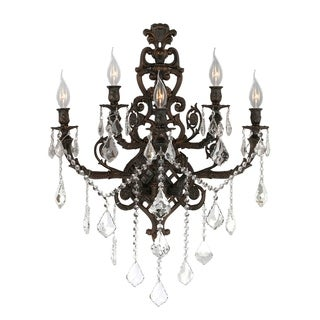Traditional 5 Light Flemish Brass Finish Crystal Large Wall Sconce Light