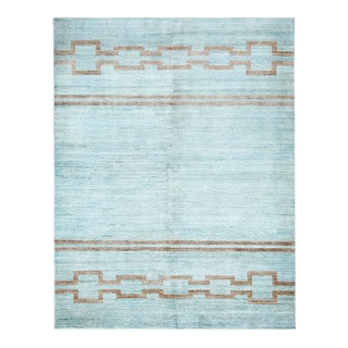 Herat Oriental Afghan Hand-Knotted Tribal Vegetable Dye Gabbeh Light Blue/ Rust Wool Rug (5'3 x 6'10)