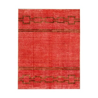 Herat Oriental Afghan Hand-Knotted Tribal Vegetable Dye Gabbeh Red/ Brown Wool Rug (5'3 x 6'9)