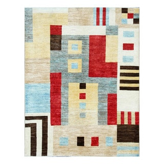 Herat Oriental Afghan Hand-Knotted Tribal Vegetable Dye Gabbeh Multicolor Wool Rug (4'11 x 6'5)