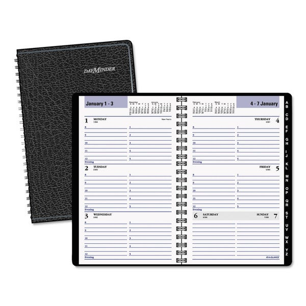 DayMinder 4 7/8 x 8, Black 2016 Weekly Appointment Book with Telephone/Address Section