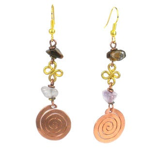 Handcrafted Copper, Brass, and Agate Earrings with Copper Swirl (Kenya)