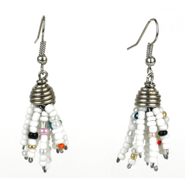 White Maasai Beaded Spike Earrings (Kenya)