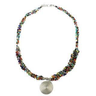 Single Spiral 'Elegance' Braided Multicolor Bead Necklace (Kenya)