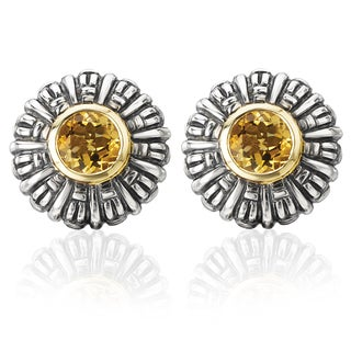 Avanti Palladium Silver 18k Yellow Gold Citrine Floral Earrings