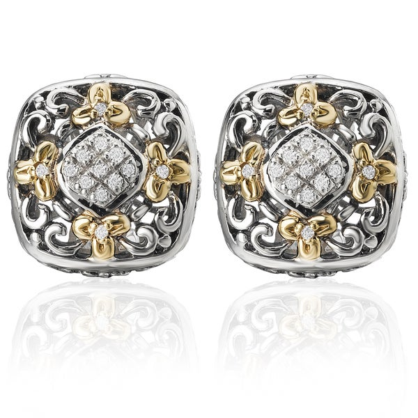 Avanti Palladium Silver 18k Yellow Gold White Sapphire Earrings