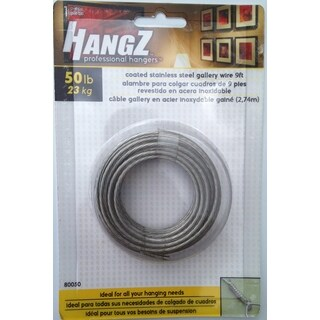 HANGZ Gallery Wire Coated Stainless Steel 9ft 50-pound