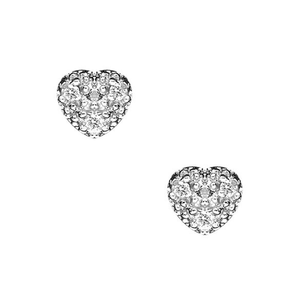 Sterling Silver Pave-set Cubic Zirconia Heart Stud Earrings