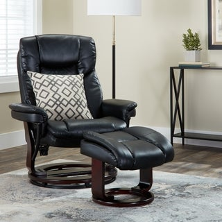Contemporary Leather Swivel Recliner and Ottoman with Swiveling Mahogany Wood Base