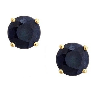 Anika and August 14k Yellow Gold Round-cut Blue Sapphire Earrings