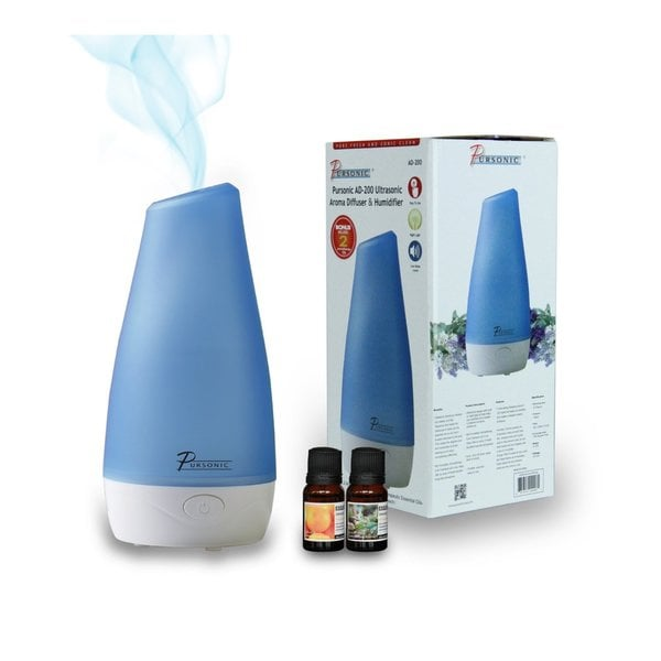 Pursonic AD200 UltraSonic Aroma Diffuser and Humidifier with 2 Scented Oils