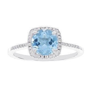 H Star 14k White Gold Diamond Accent and Blue Topaz Halo Ring